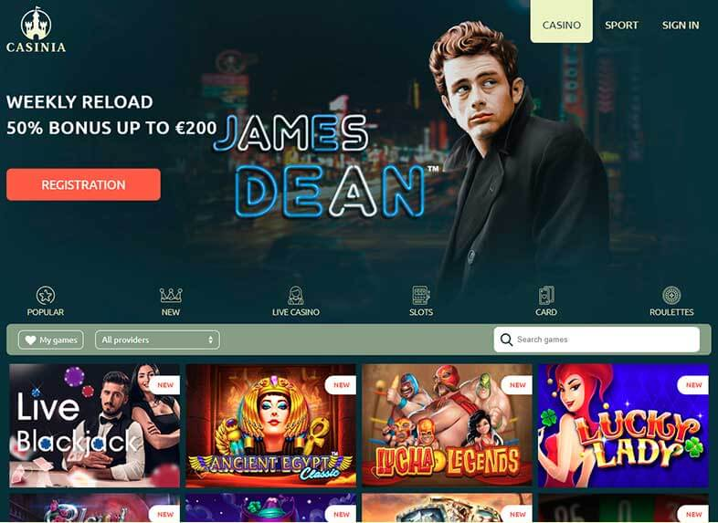 casinia casino site screenshot