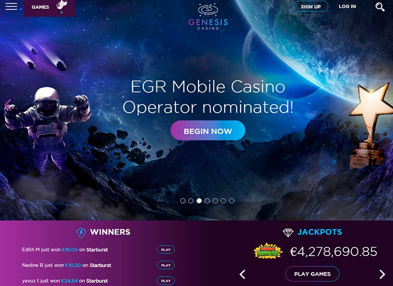 genesis casino site screenshot