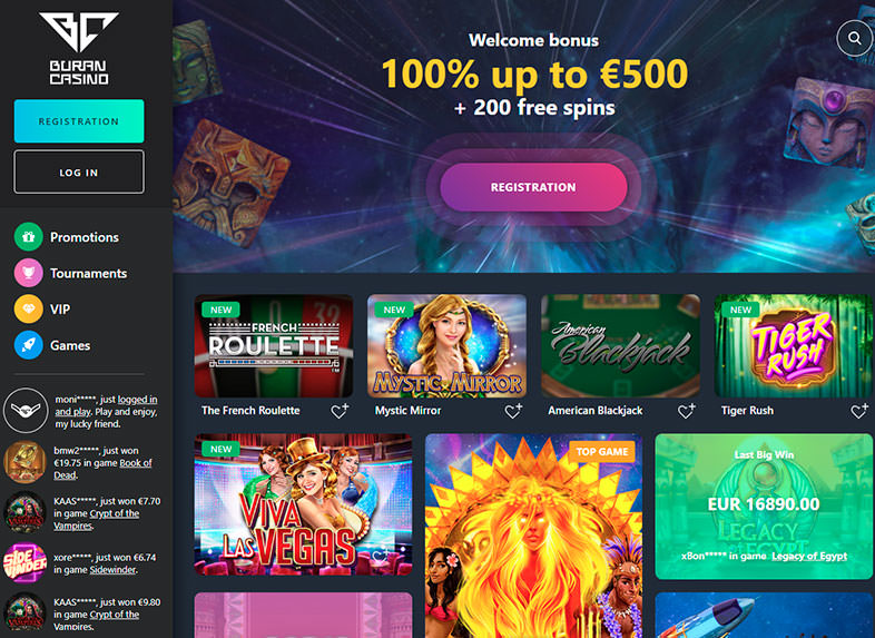 buran casino site screenshot