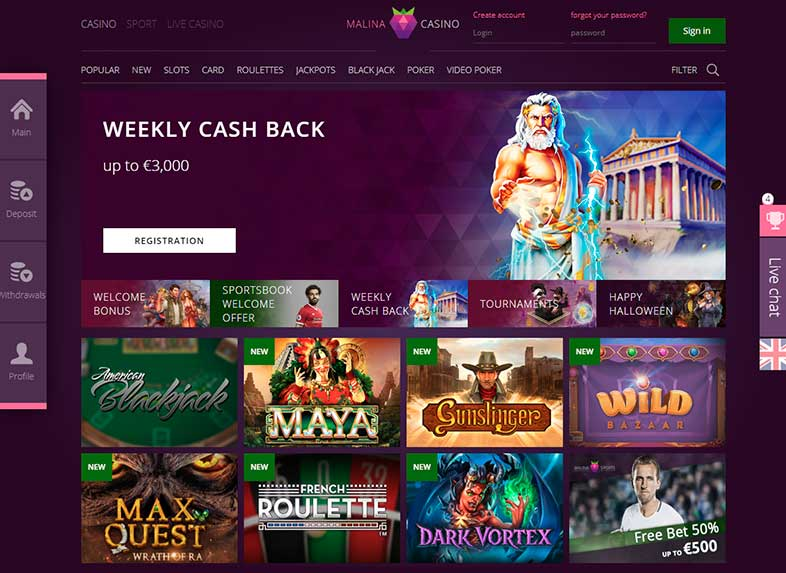 malina casino site screenshot