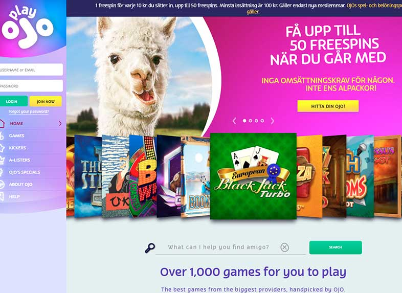 playOJO casino site screenshot
