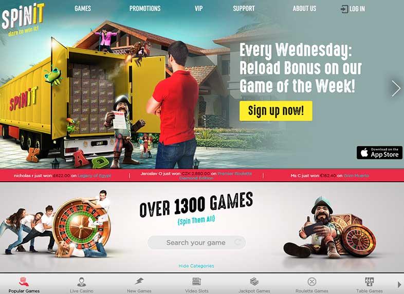 spinit casino site screenshot