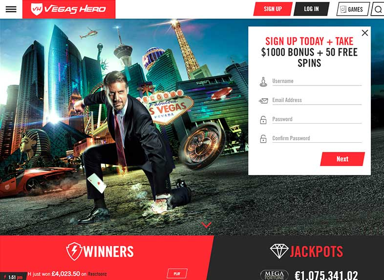 vegas hero casino site screenshot