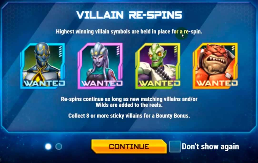 iron girl slot villain respins