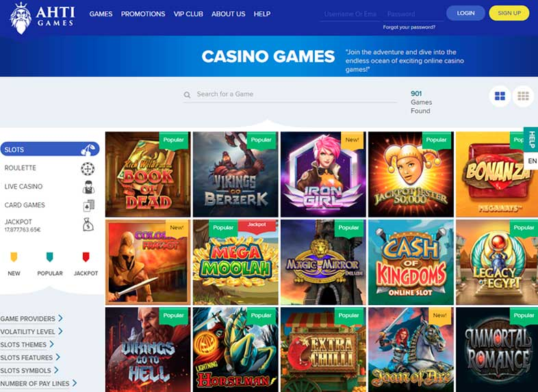 ahti games casino site