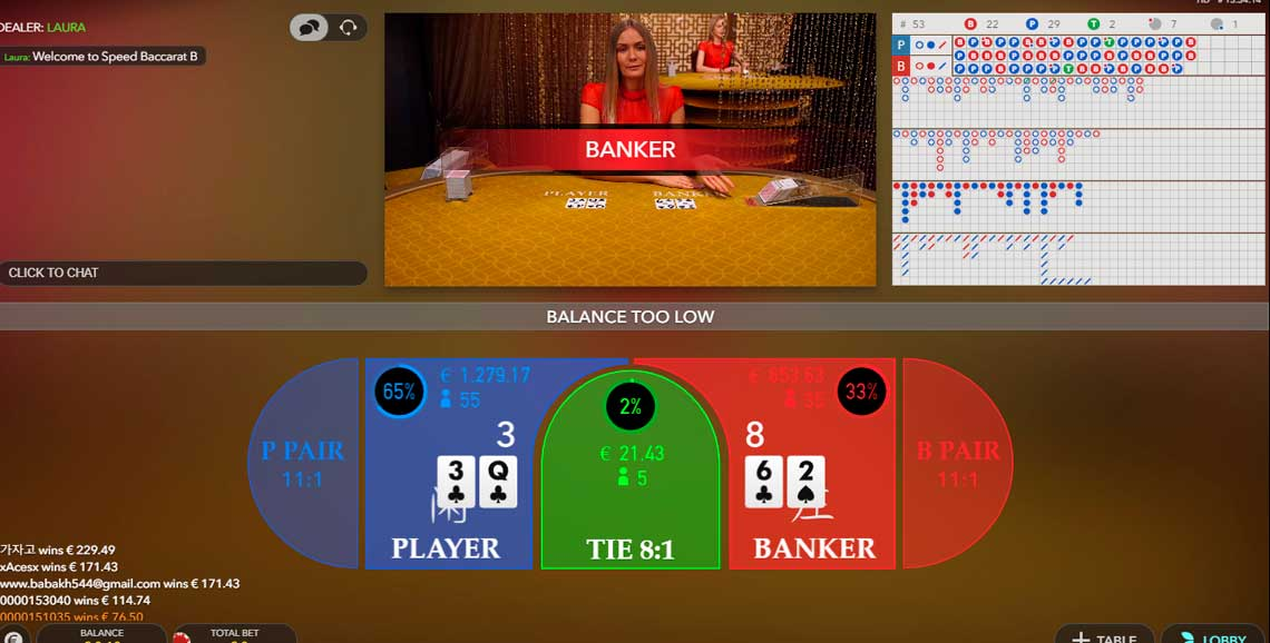 Live casino games baccarat