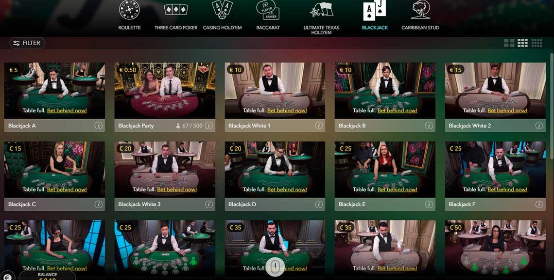 Live casino games blackjack