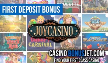 JoyCasino first deposit bonus
